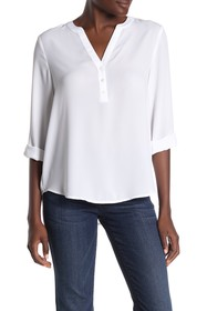 NYDJ Solid 3/4 Sleeve High/Low Henley