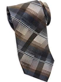Awearness Kenneth Cole Taupe Plaid Narrow Tie