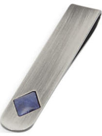 Joseph Abboud Blue Stone and Silver Tie Bar