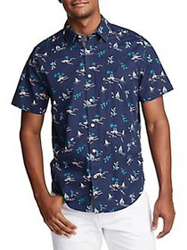 Nautica Classic-Fit Printed Shirt BLUE DEPTHS