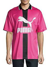 PUMA Logo Short-Sleeve Polo HOT PINK