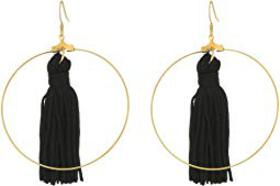Kenneth Jay Lane Gold Hoop with Black Tassel Fishh