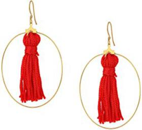 Kenneth Jay Lane Gold Hoop w/ Red Tassel Fishhook