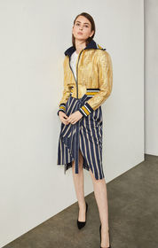 BCBG Metallic Jacquard Baseball Jacket