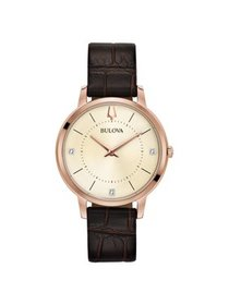 97P122 Women's Classic Champagne Dial Brown Leathe