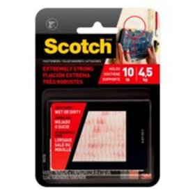 Scotch Extreme Fasteners, 1 in. x 3 in., Clear, 2