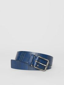 Burberry Perforated Check Leather Belt in Ink Blue