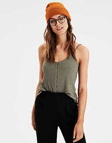 American Eagle AE Button Front Tank Top