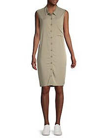 Design Lab Sleeveless Button-Front Dress MOSS