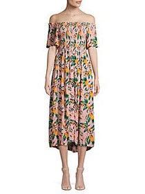 C&C California Printed Off-the-Shoulder Midi Dress