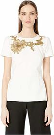 Marchesa Crepe Peplum Top with Gold Floral Embriod