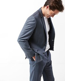 Express classic blue wool twill suit jacket