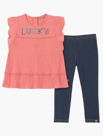 Lucky Brand 12m-24m Two Piece Pink And Denim Set