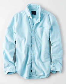 American Eagle AE Long Sleeve Oxford Button Up Shi