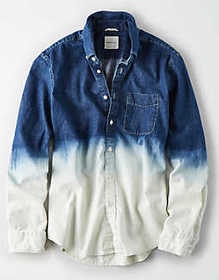 American Eagle AE Long Sleeve Dip Dye Denim Button
