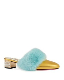 Gucci - Women's Candy Leather & Mink Fur Embellish