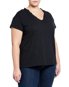 525 America Plus Slub Ruffle V-Neck Tee Plus Size
