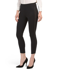 PHILOSOPHY Petite Pull On Ponte Pants With Studs
