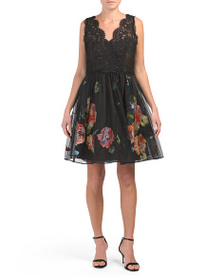 NOTTE BY MARCHESA Embroidered Lace Cocktail Silk D