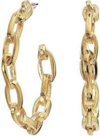 Kenneth Jay Lane Polished Gold Link Hoop Pierced E