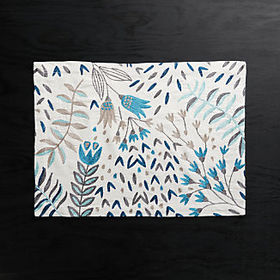 Crate Barrel Milla Blue Embroidered Placemat