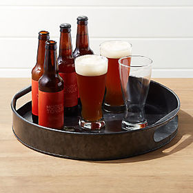 Crate Barrel Black Galvanized Tray