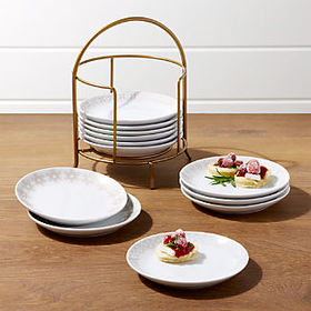 Crate Barrel Filigree Appetizer Plates with Stand,