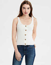 American Eagle AE Ribbed Button Sweater Tank