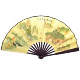 Scenery Print Yellow Cloth Bamboo Frame Chinese Tr