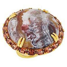 Rarities Gold-Plated Variegated Agate and Orange Z