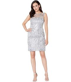 Tahari by ASL Sleeveless Embroidered Mesh Cocktail
