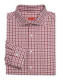 Isaia Check Dress Shirt RED