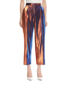 Dries Van Noten Penny Shiny Metallic Pants