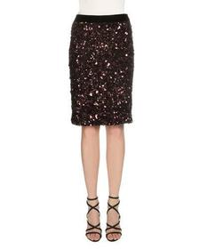 TOM FORD Sequined Stretch-Knit Skirt Fuchsia