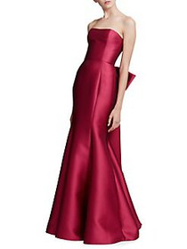 Marchesa Notte Floor-Length Bow Gown FUCHSIA