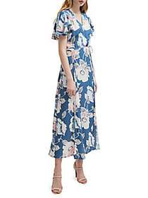 French Connection Floral Ruffled Surplice Midi Dre