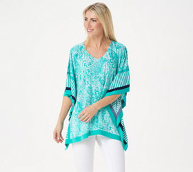 Susan Graver Printed Liquid Knit Scarf Top - A3509