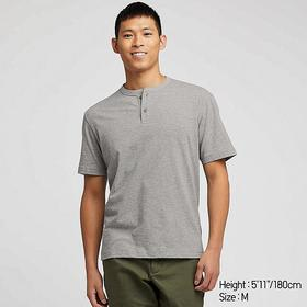 MEN SLUB HENLEY NECK SHORT-SLEEVE T-SHIRT