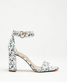 Leannette Floral Leather Block Heel Sandals