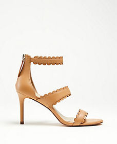 Raina Scalloped Leather Heeled Sandals