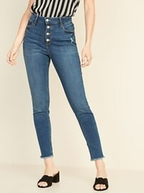 High-Waisted Rockstar Raw-Edge Ankle Jeans For Wom