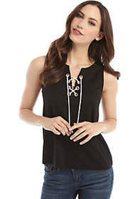 The Limited Sleeveless Lace Up Grommet Top