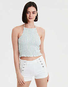 American Eagle AE Cropped Plaid Halter Top
