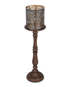G G Collection Wooden Candle Holder 35T