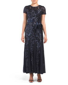 R&M RICHARDS Petite All Over Sequins Godet Gown