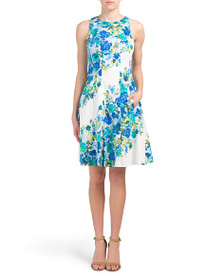 MAGGY LONDON Diagonal Floral Fit & Flare Dress