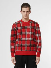 Burberry Check Cashmere Jacquard Sweater in Parade
