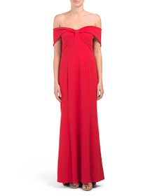 MARINA Off The Shoulder Crepe Gown