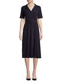 T Tahari Belted A-Line Dress NAVY
