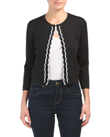 CABLE & GAUGE Tipped Scallop Crew Neck Shrug